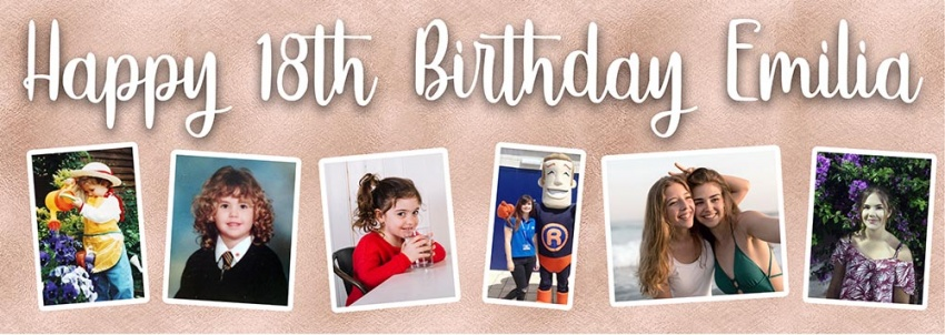 Rose gold birthday banner with 6 photos